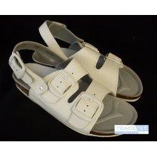 MPM, Pánské sandály, 2 přezky, zap. za patou, kožené, bílé