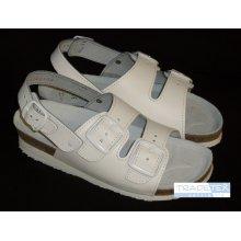 MPM, Dámské sandály, 2 přezky, zap. za patou, kožené, klín, bílé