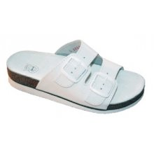 MPM, Dámské pantofle, 2 přezky, s klínem, kožené, bílé