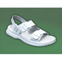 MPM, Dámské pantofle, 3 přezky, zap. za patou, kožené, bílé
