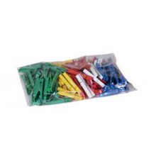 Kolíčky na prádlo, 100 ks, plastové, barevné