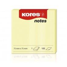 Blok samolepící Kores, žlutý, 75 x 75 mm/ 100 listů
